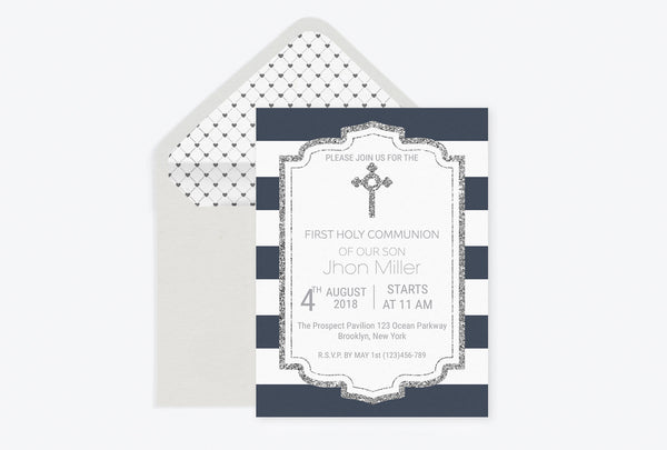 Silver Glitter Boy Baptism Invitation Template
