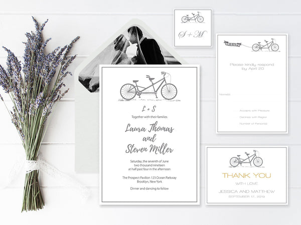 Gray Tandem Bike Wedding Invitation Suite Templates