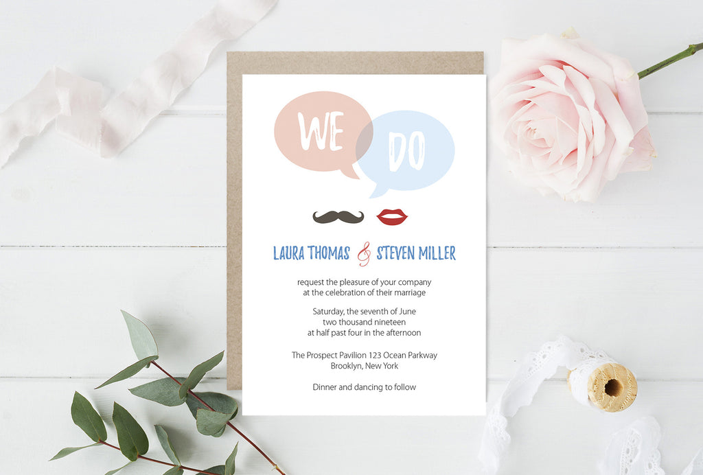 We Do Speech Bubble Wedding Invitation Template