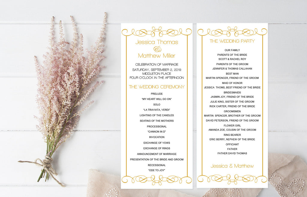 Gold Swirls Wedding Program Template  Diyprintable