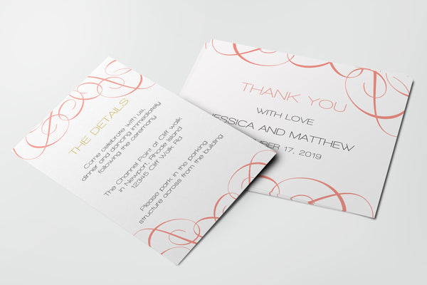Coral Swrils Wedding Invitation Details Card Templates