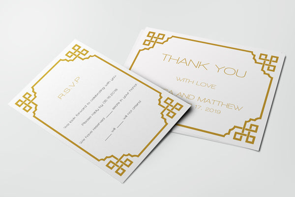 Gold Vintage Frame Wedding Thank You Card Templates
