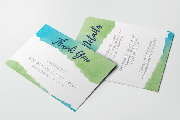 Watercolor Wedding Thank You Card and Details Template