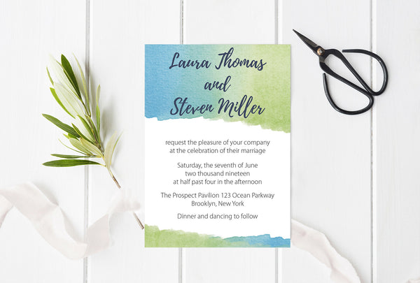 Watercolor Wedding Invitation Templates