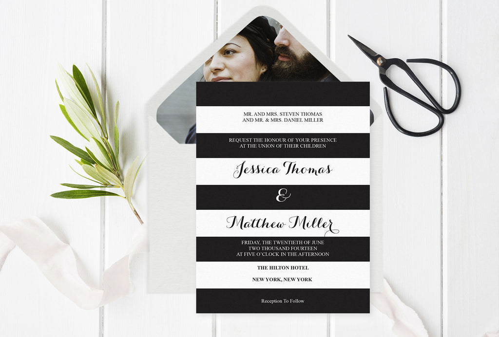 Black & White Striped Wedding Invitation With Envelope Liner