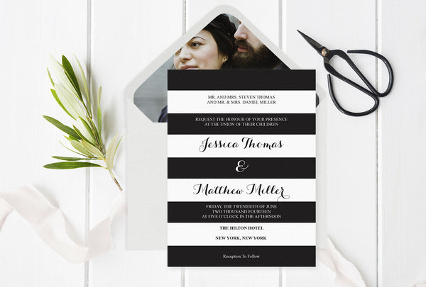 Black & White Striped Wedding Invitation with Envelope Liner Templates
