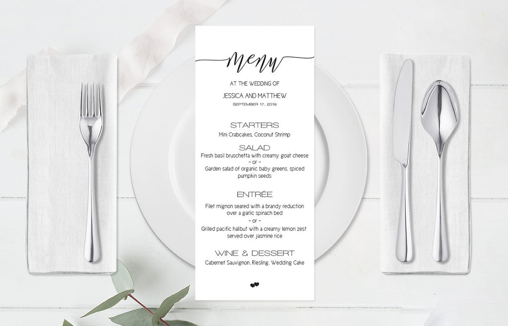 Elegant Calligraphy Wedding Menu Template