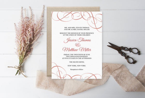 Coral Swrils Wedding Invitation Template