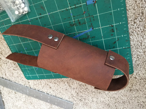 Straps for hanging leather water bottle holder