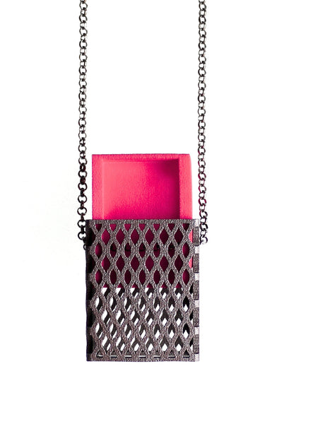 3D Printed Matchbox Pendant in Pink and Matte Dark Steel