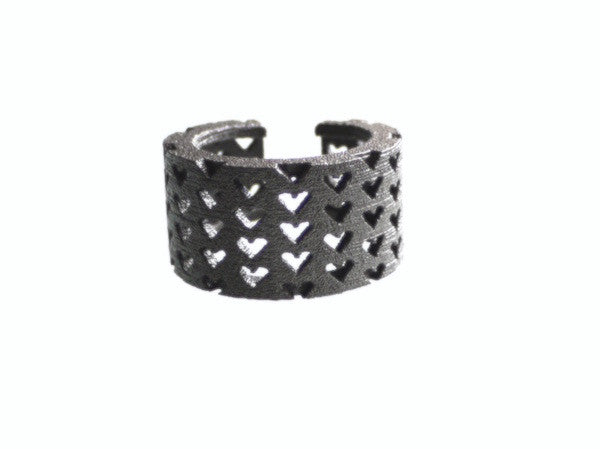 3D Printed Perforated Hearts Ring in Matte Dark Steel