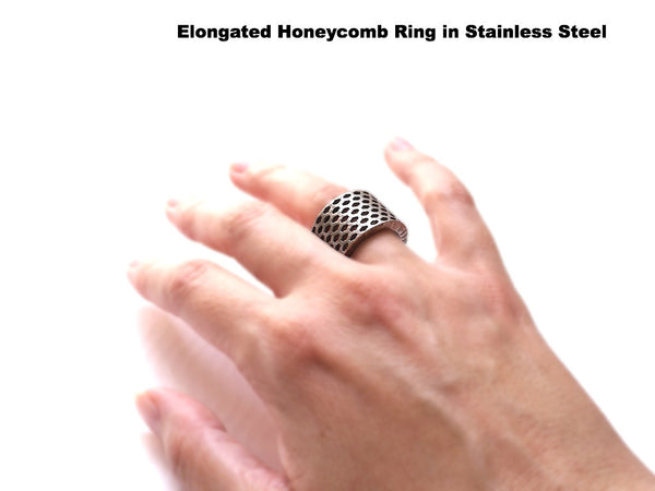 3D Printed Elongated Honeycomb Ring in Matte Dark Steel