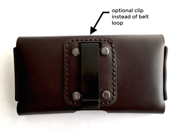 iphone holster in brown leather with optional belt clip