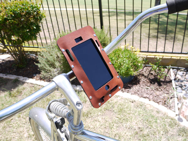 iPhone bike mount, bicycle iPhone holder in leather, bike accessory