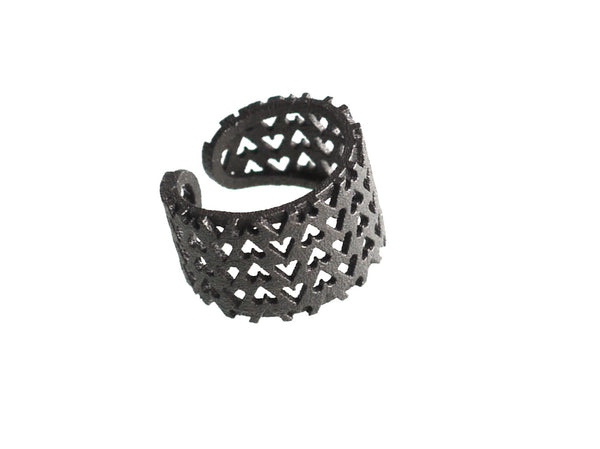 3D Printed Inverted Hearts Ring in Matte Dark Steel
