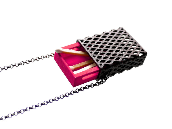 3d printed matchbox pendant in dark steel and pink