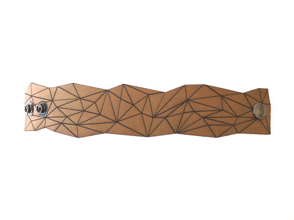 geo cuff in brown leather