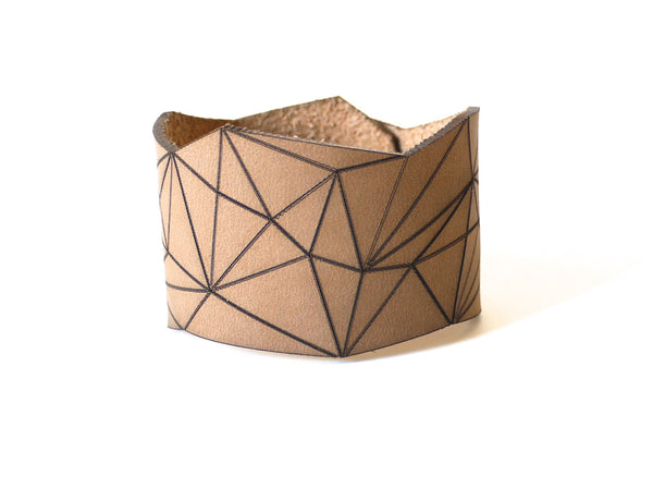 geometric bracelet in tan leather