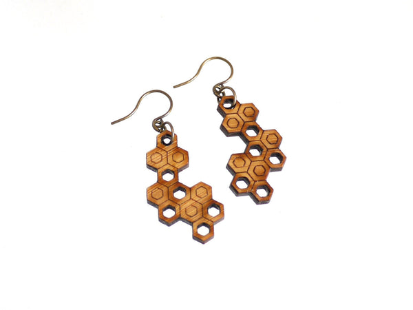 hexagon geometric wood jewelry