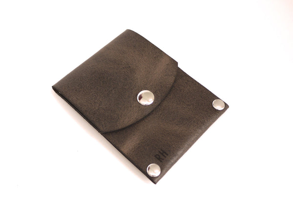 Slim Card Wallet in Distressed Brown Leather