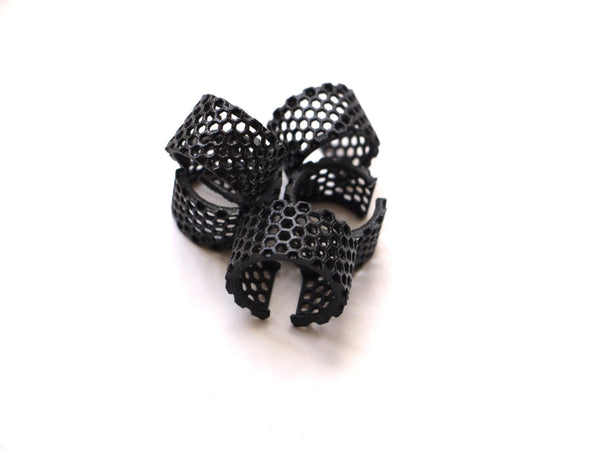 3d printed geometric ring in black