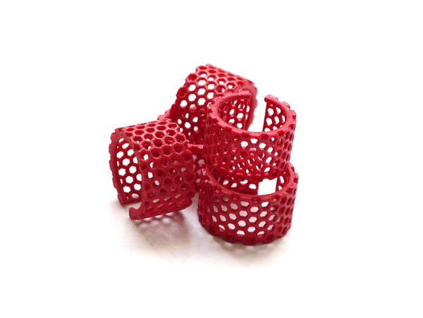 red honeycomb ring