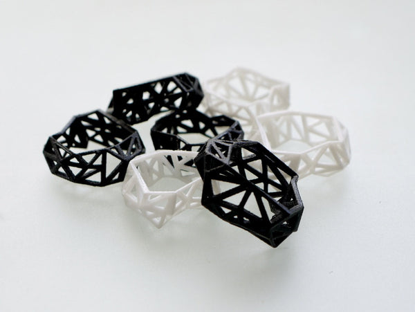 Geometric Ring - Triangulated Ring in Black, 3d printed