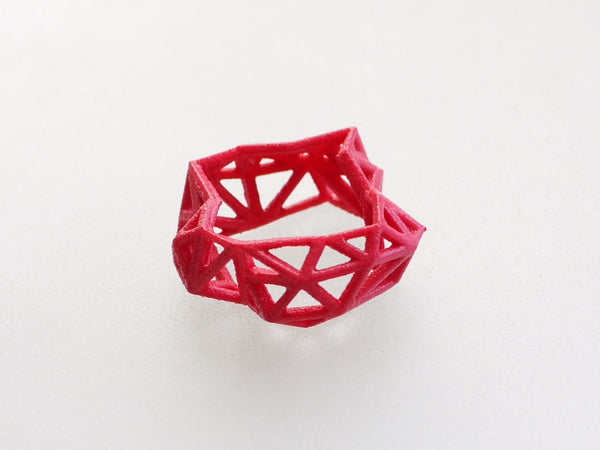 3d printed Triangulated Ring in Pink