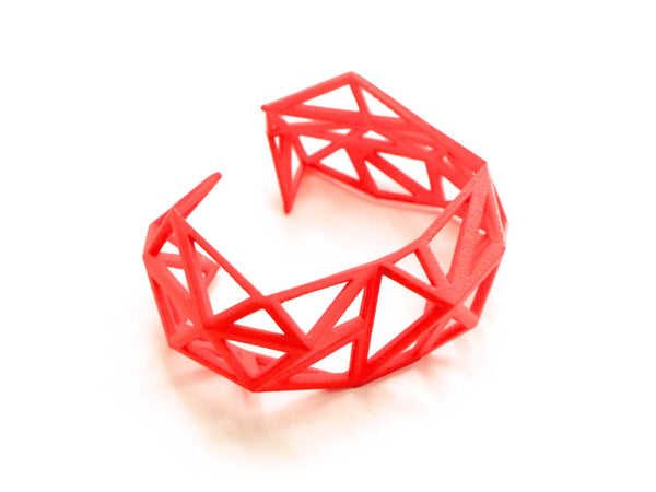 3d printed bracelet cuff in coral red