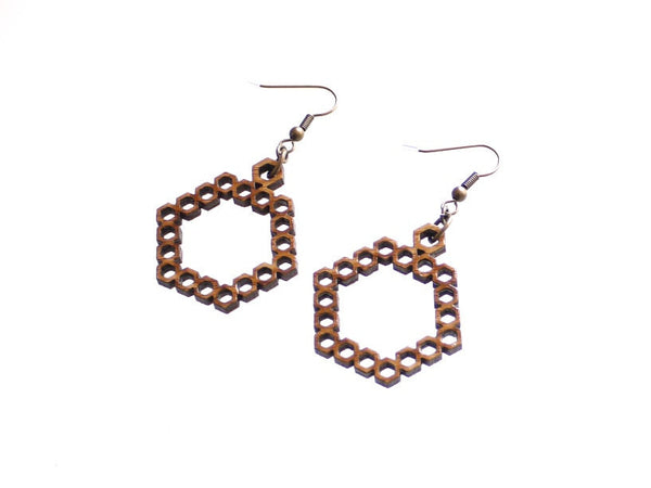 bamboo Hexagon earrings