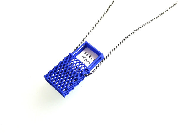 3d printed necklace- Matchbox Pendant in Purple