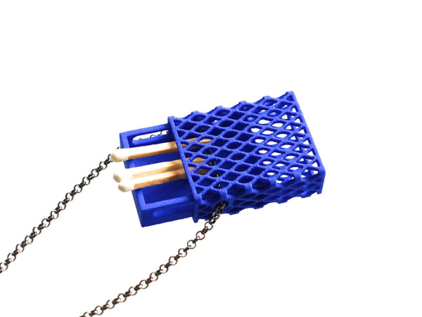 3d printed matchbox pendant in blue