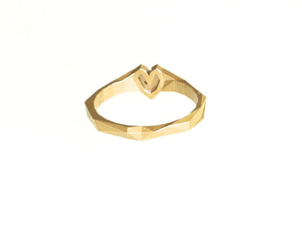 3d printed heart ring in brass