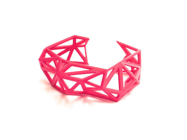 Triangulated Cuff bracelet in Pink. 3d printed.