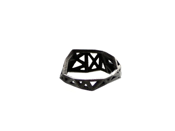 Slim Triangulated Ring in Dark Steel. 3d printed