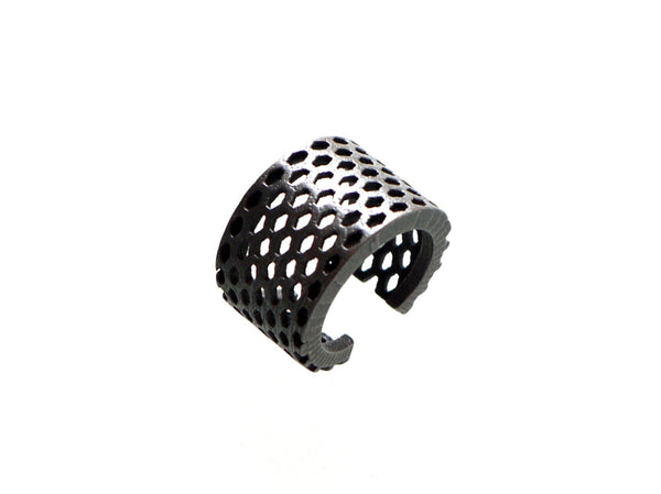 honeycomb ring 3d printed in stainless steel