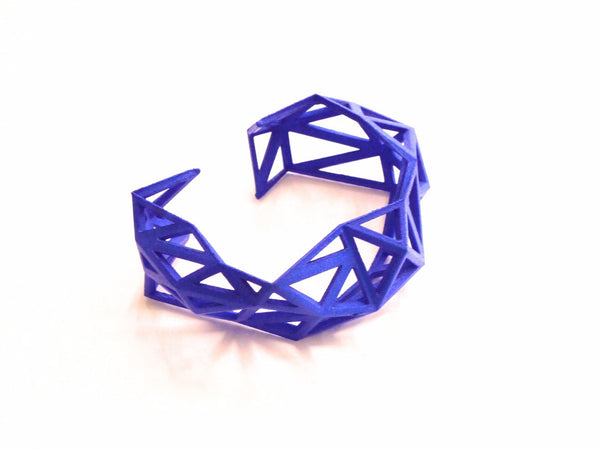 Triangulated Cuff bracelet in Blue. 3d printed.
