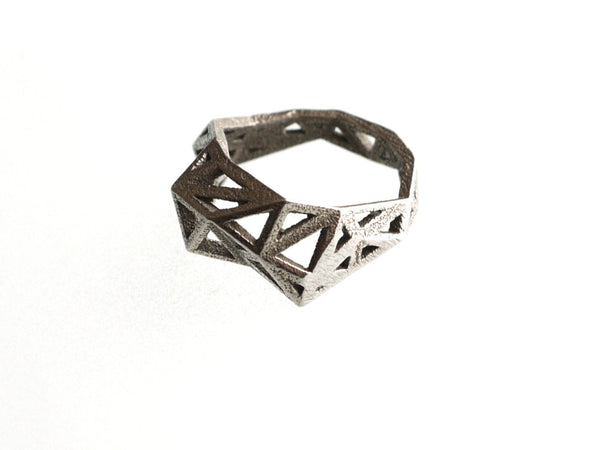 Slim Triangulated Ring in Stainless Steel, 3d printed