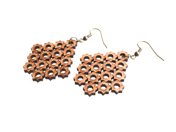 Chandelier Bamboo Wood earrings