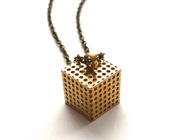 3d printed cube pendant in brass
