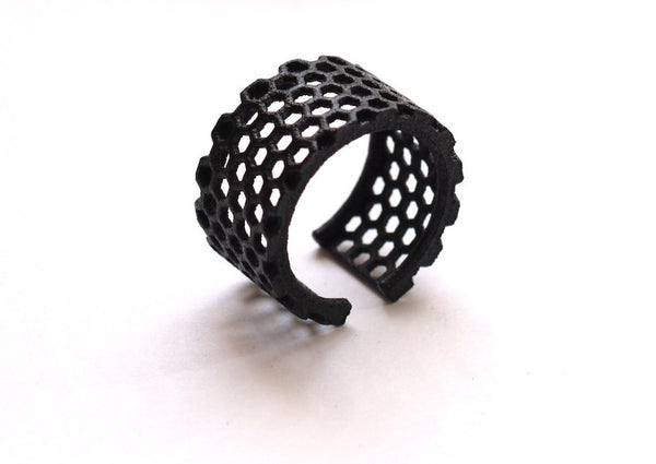 3d printed ring in black