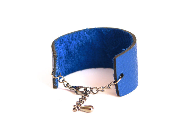 Slim Engraved Barcode bracelet in Cobalt Blue Leather, PRICELESS