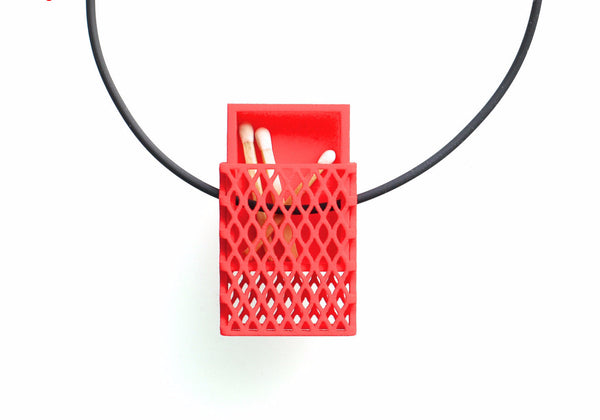 Matchbox Pendant in Red - 3d printed