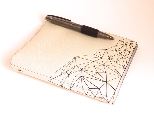 Geometric Mountain Sketchbook in Creme Leather with Pen Closure