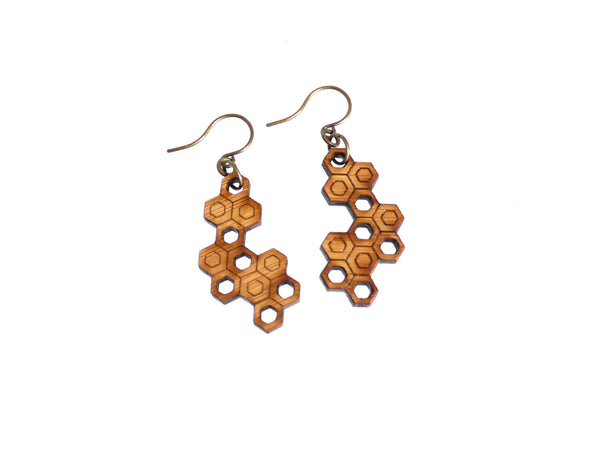 Bamboo Wood Hexagon Cluster Earrings