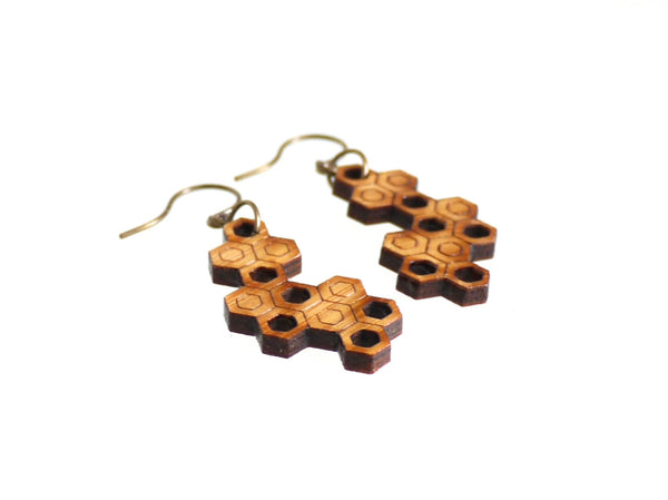 laser cut bamboo earrings