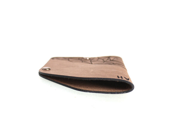 The 2 Rivets Minimalist Card Wallet with Geometric Mountain