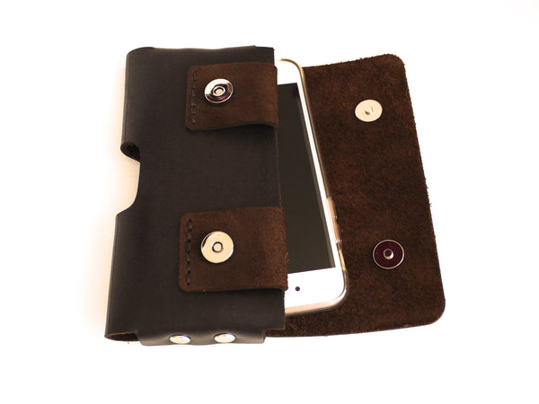 iPhone X holster in brown leather