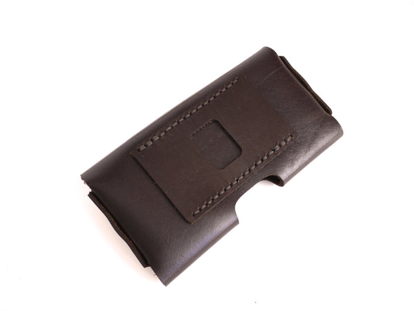stitched belt loop for iphone holster in brown leather