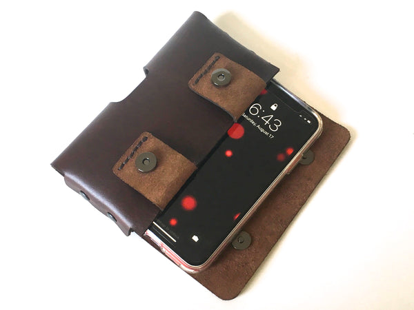 iPhone XR or 11 holster in Dark Brown Leather